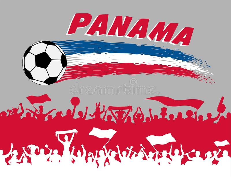 Panama flag colors with soccer ball and Panamanian supporters si stock illustration