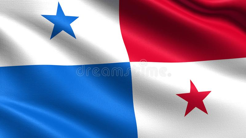 Panama flag, with waving fabric texture stock photography