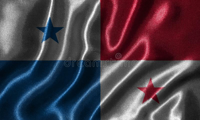 Panama flag and waving flag by fabric. stock photography