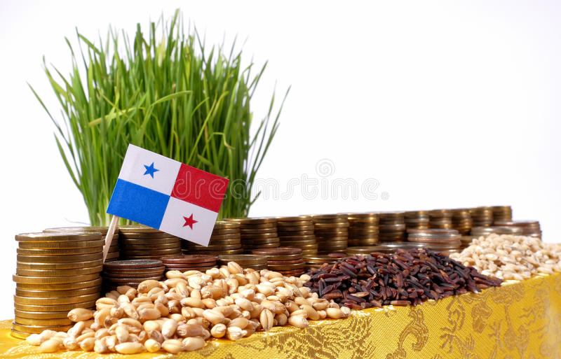 Panama flag waving with stack of money coins and piles of wheat royalty free stock photo