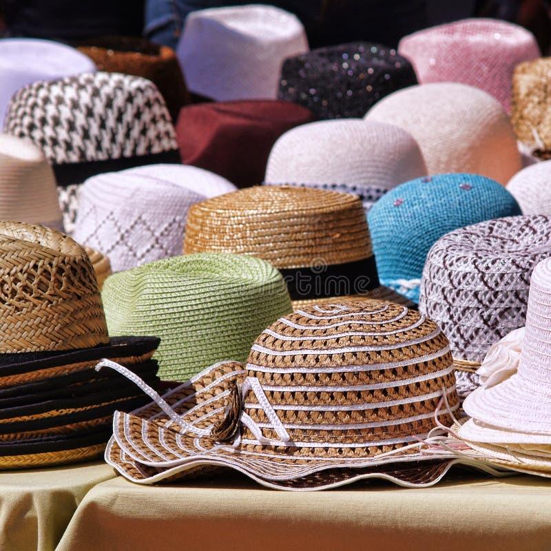 Panama hats. On provencal market royalty free stock image
