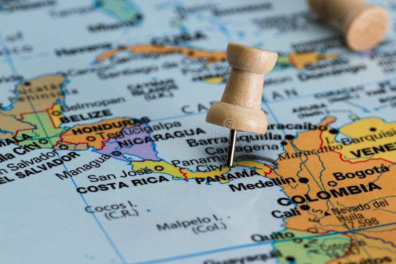 Panama on a map. Close up of the central america area with panama in sharp focus royalty free stock image