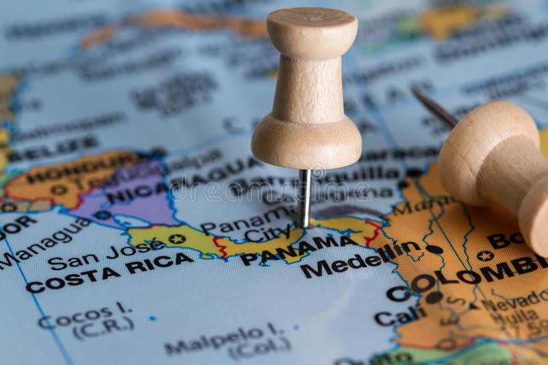 Panama on a map. Close up of the central america area with panama in sharp focus stock photo
