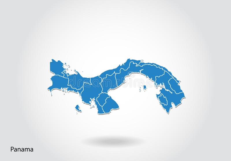 Panama map design with 3D style. Blue Panama map and National flag. Simple vector map with contour, shape, outline, on white vector illustration