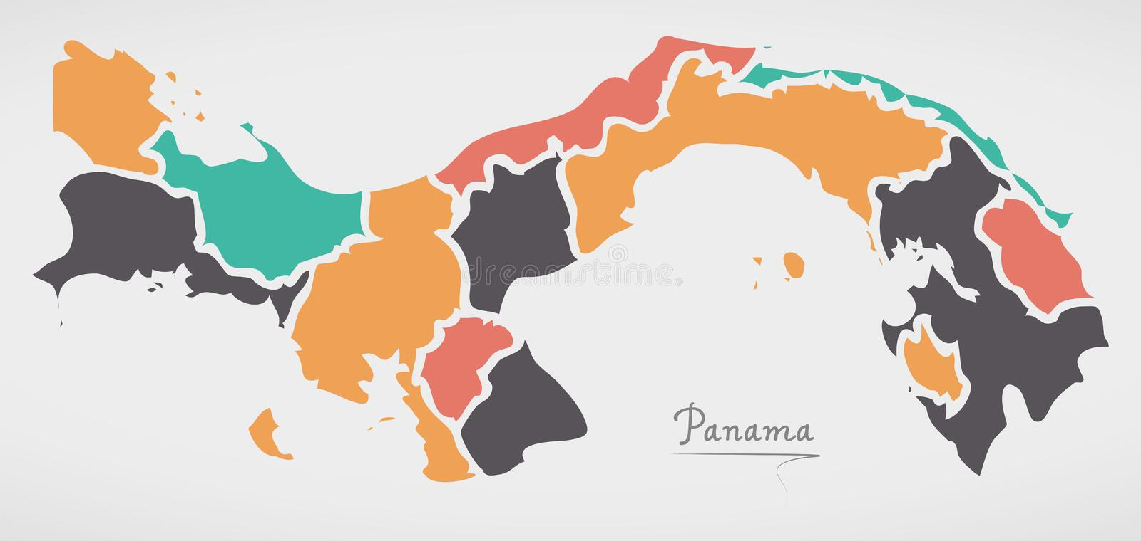 Panama Map with states and modern round shapes. Illustration royalty free illustration