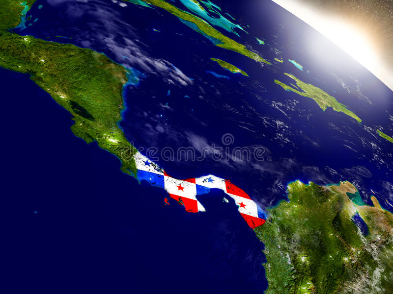 Panama met vlag in het toenemen zon vector illustratie
