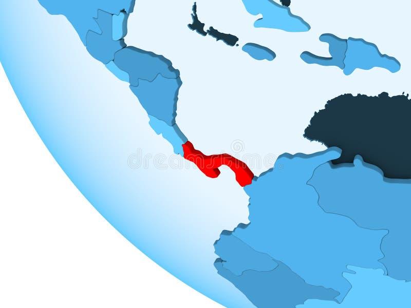 Panama na błękitnej politycznej kuli ziemskiej ilustracja wektor