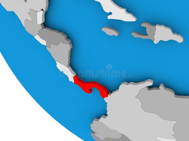 Panama na politycznej kuli ziemskiej ilustracji