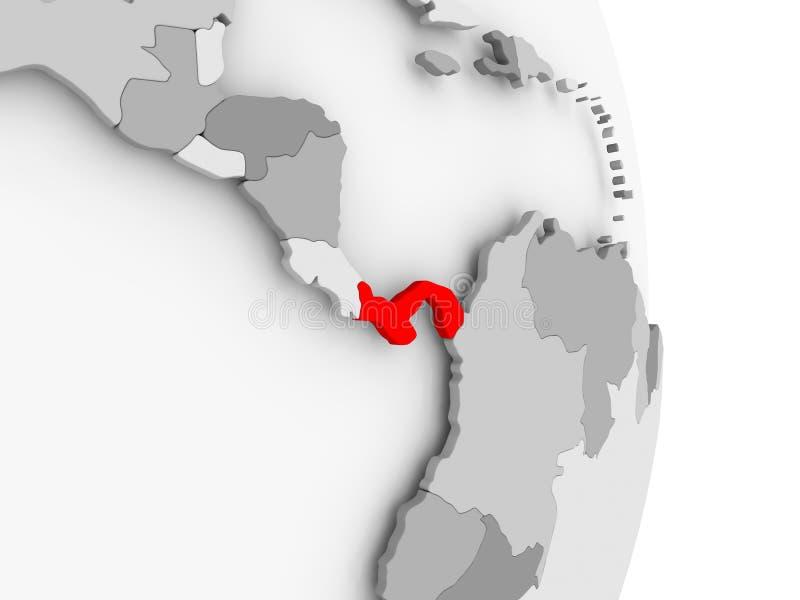 Panama na popielatej politycznej kuli ziemskiej ilustracji
