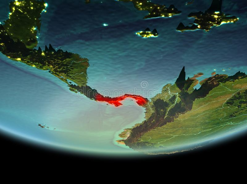Panama at night on Earth. Panama from orbit of planet Earth at night with highly detailed surface textures. 3D illustration. Elements of this image furnished by stock image