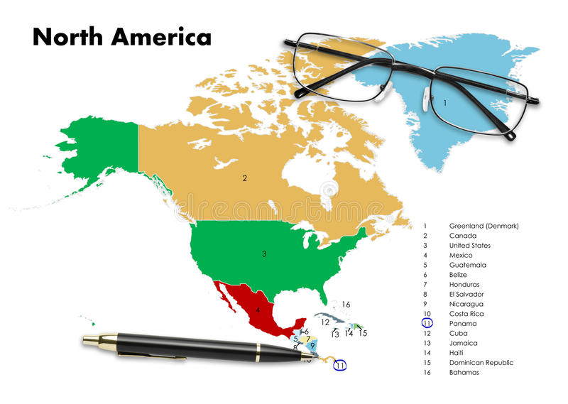 Panama on north america map. With pen & eyeglasses stock photography