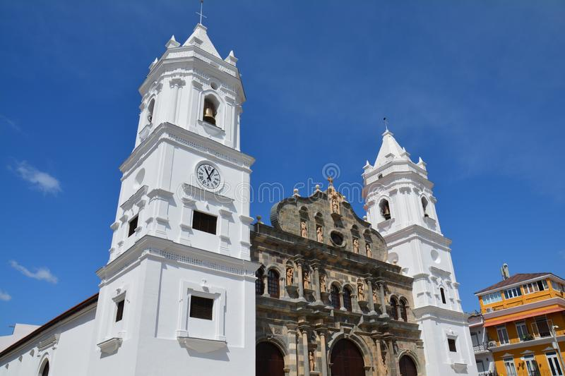 Panama Old Town casco Viejo in Panamá. Beautiful picture of the main cathedral of Panamá in the old part of the city called casco Viejo with christmas royalty free stock images