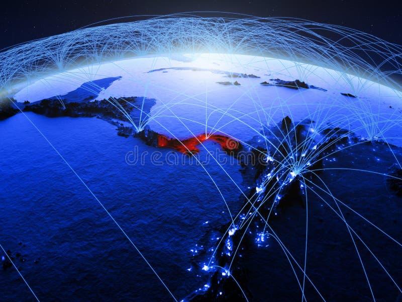 Panama op blauwe digitale aarde met internationaal netwerk die mededeling, reis en verbindingen vertegenwoordigen 3D Illustratie stock afbeeldingen