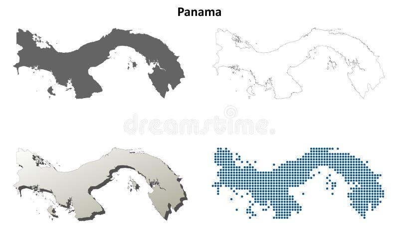Panama outline map set stock illustration