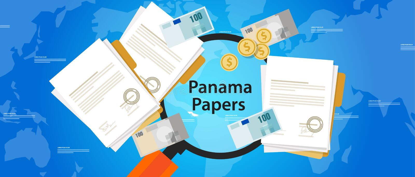 Panama papers leaked document money laundering crime stock illustration