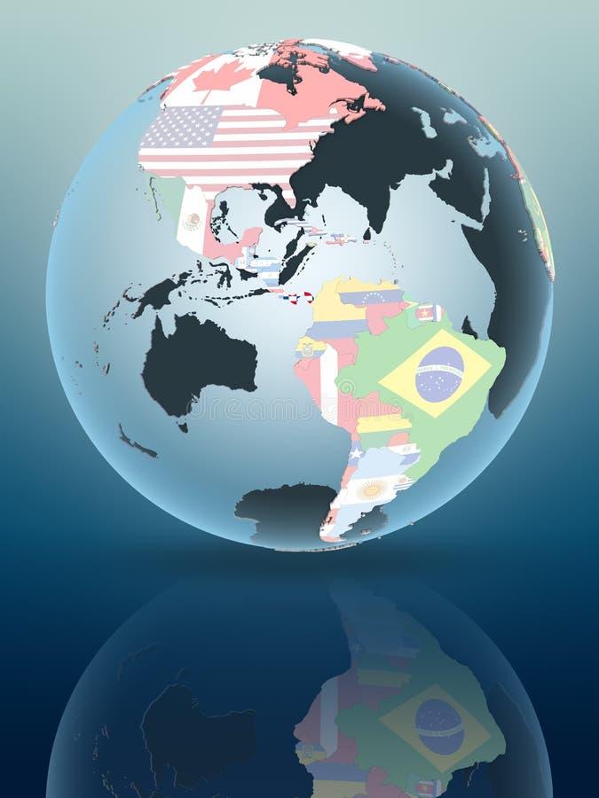 Panama on globe with flags. Panama on political globe reflecting on shiny surface. 3D illustration royalty free stock images