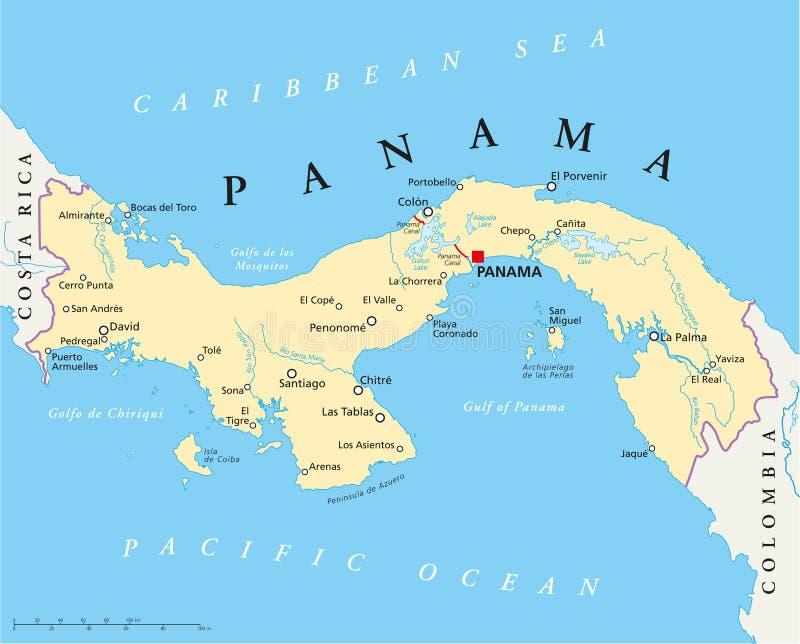 Panama Political Map stock illustration