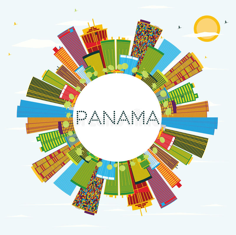 Panama Skyline with Color Buildings, Blue Sky and Copy Space. stock illustration