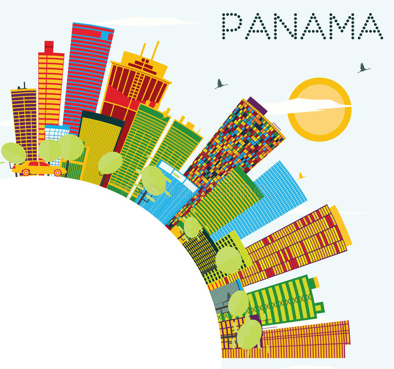 Panama Skyline with Color Buildings, Blue Sky and Copy Space. vector illustration