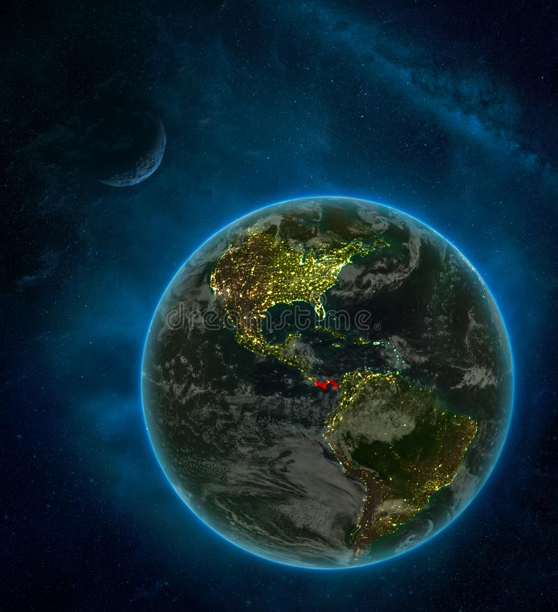 Panama from space on Earth at night surrounded by space with Moon and Milky Way. Detailed planet with city lights and clouds. 3D. Illustration. Elements of this vector illustration