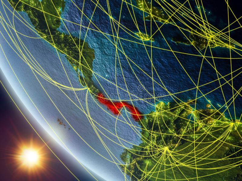Panama from space with network. Panama on planet Earth from space with network. Concept of international communication, technology and travel. 3D illustration stock photos