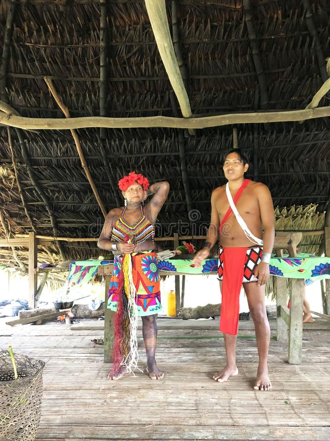 Panama, Spain. August 30, 2019 - embera tribe, native Indian people. Indian reservation is the way to conserve native culture, royalty free stock images