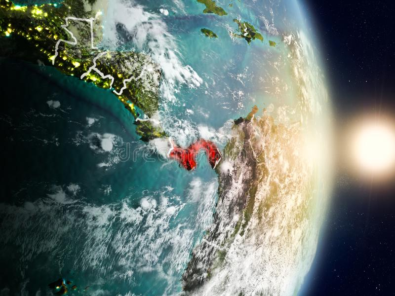 Panama during sunrise. Highlighted in red on planet Earth with visible country borders. 3D illustration. Elements of this image furnished by NASA royalty free stock image