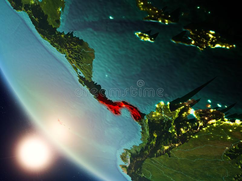 Panama during sunset on Earth. Satellite view of Panama highlighted in red on planet Earth with visible country borders during sunset. 3D illustration. Elements royalty free stock images