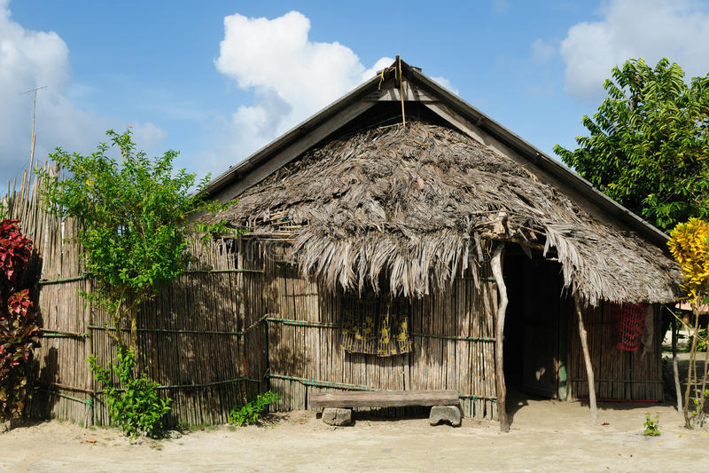 Panama, tradycyjny dom mieszkanowie San Blas archipelag zdjęcie stock