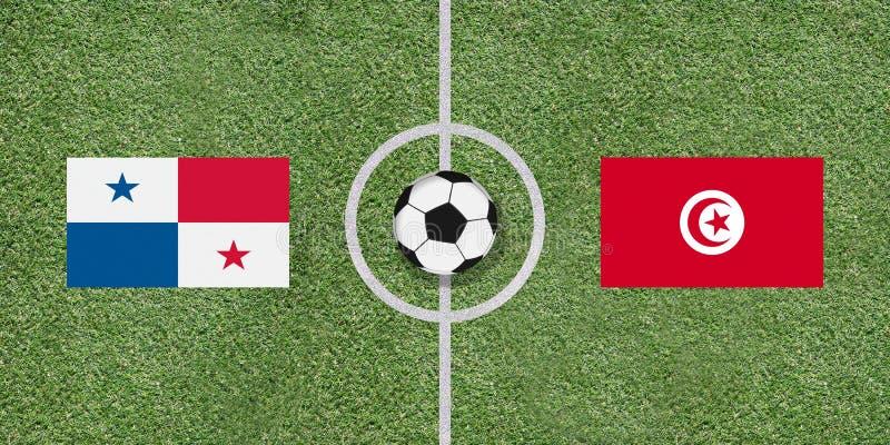 Panama vs Tunisien den internationella fotbollsmatchen sjunker på fotboll f royaltyfri fotografi