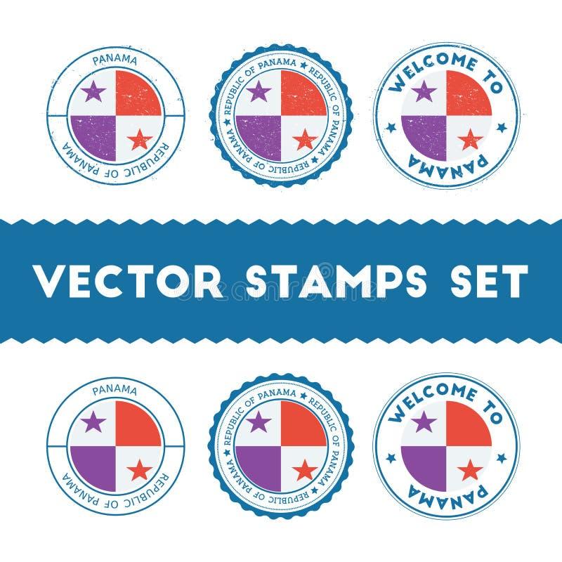 Panamanian flag rubber stamps set. stock illustration