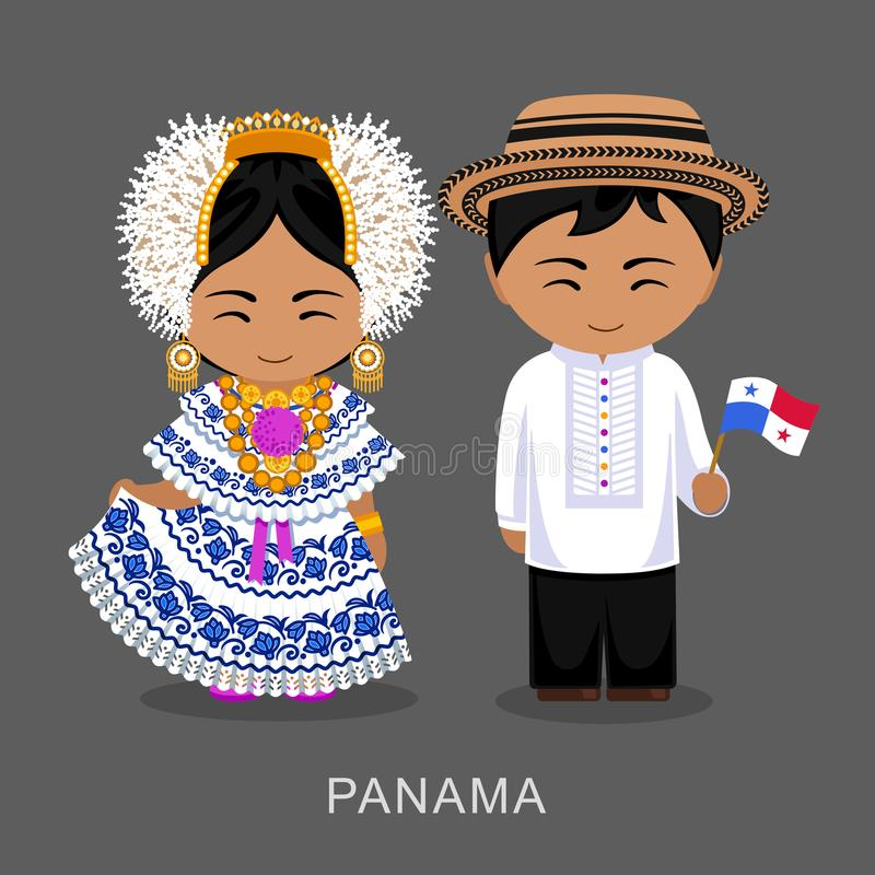 Panamanians in national dress with a flag. stock photography