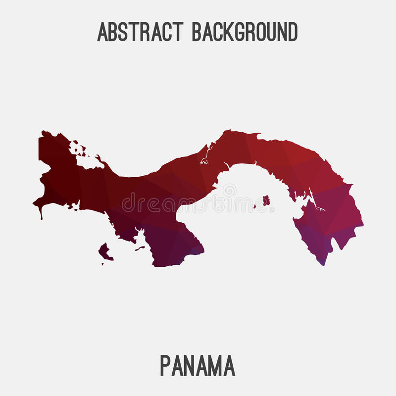 Panamska mapa w geometryczny poligonalnym, mozaika styl ilustracja wektor