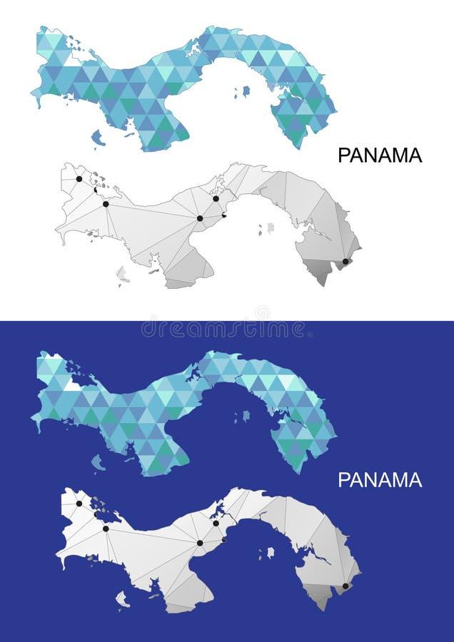 Panamska mapa w geometrycznym poligonalnym stylu Abstrakcjonistyczny klejnotu trójbok ilustracji