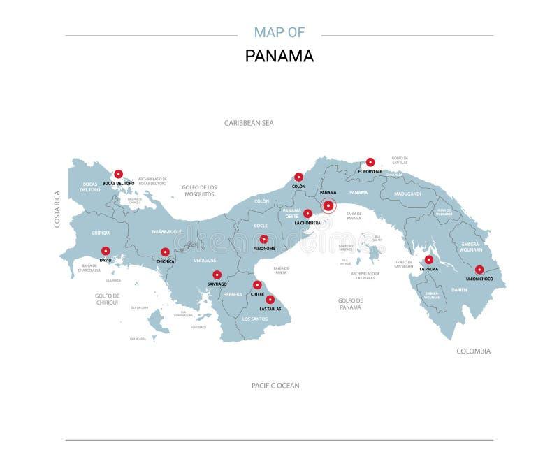 Panamski mapa wektor z czerwieni szpilką ilustracja wektor