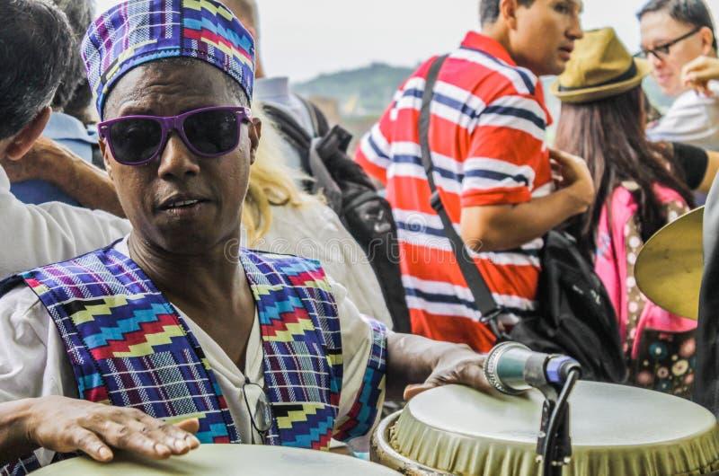 Panamski miasto, Panama, Sierpień 15, 2015 W górę afroamerykańskiego muzyka obrazy stock