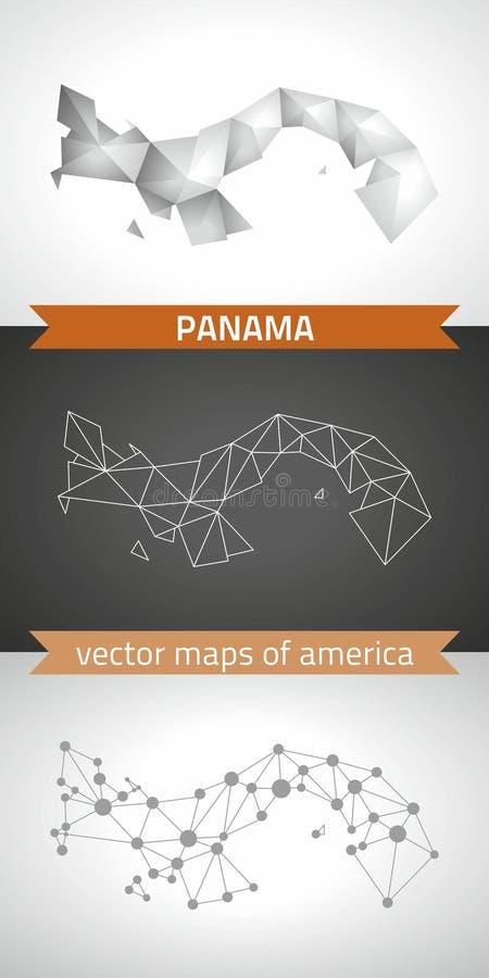 Panamski ustawiający popielate i srebne mozaiki 3d poligonalne mapy Graficzne wektorowe trójbok geometrii konturu cienia perspekt ilustracja wektor