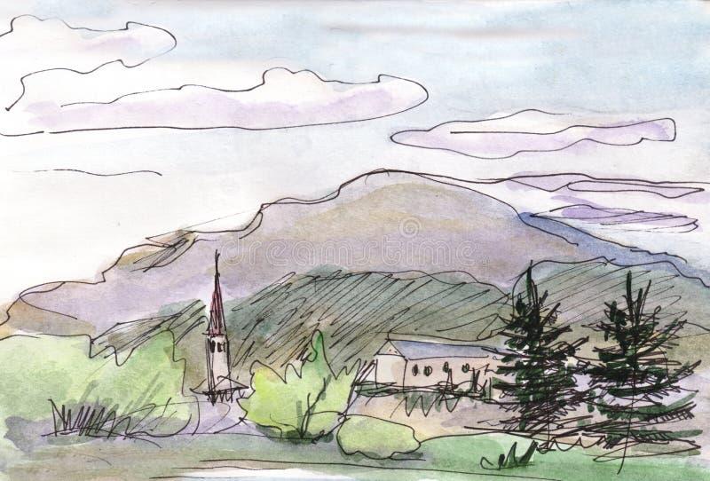 Panaorama av berg i ön stock illustrationer