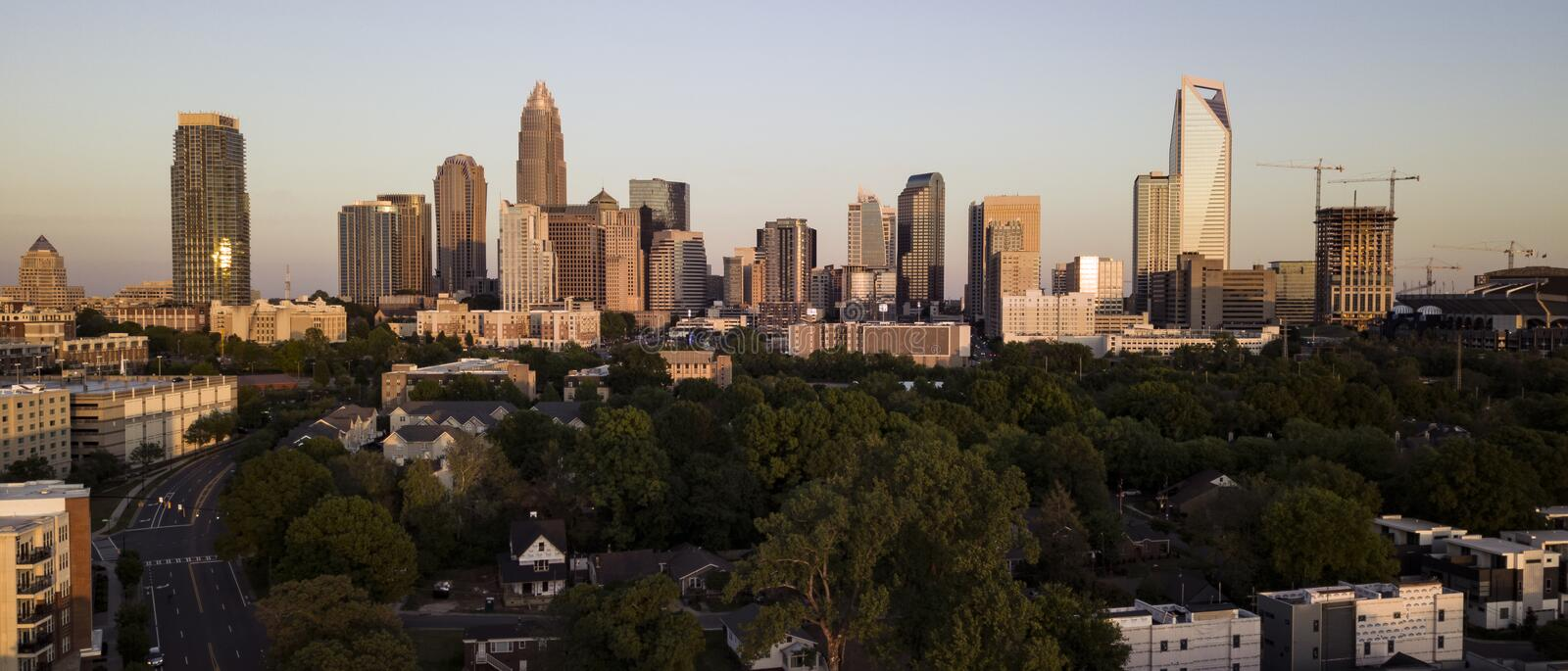 Aerial View of the Downtown City Skyline of Charlotte North Carolina royalty free stock photography