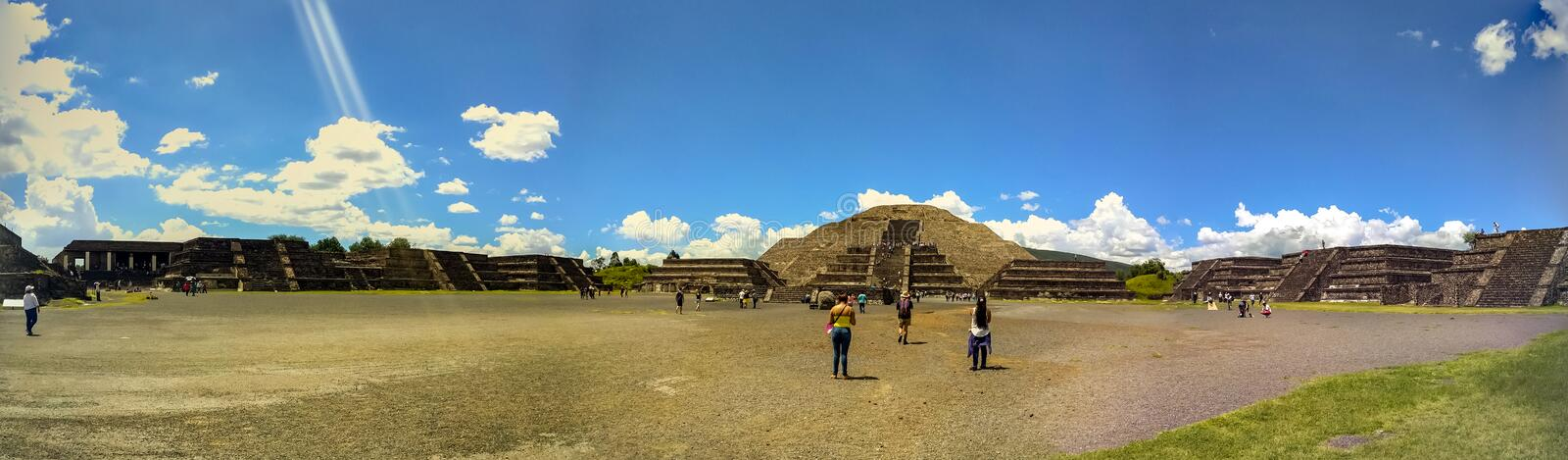 Moon Pyramid at Teotihuacan, Mexico. Panorama. royalty free stock photo