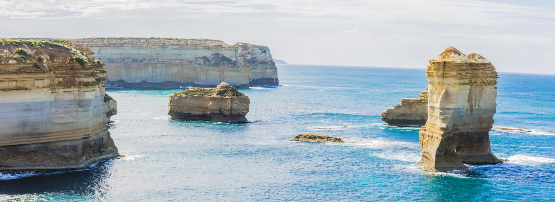 Panarama在12位传道者附近的海湾峡谷在维多利亚澳大利亚 库存图片