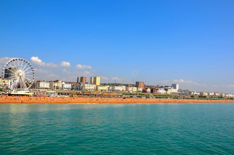 Panaromic-Ansicht von Brighton Beach lizenzfreies stockfoto