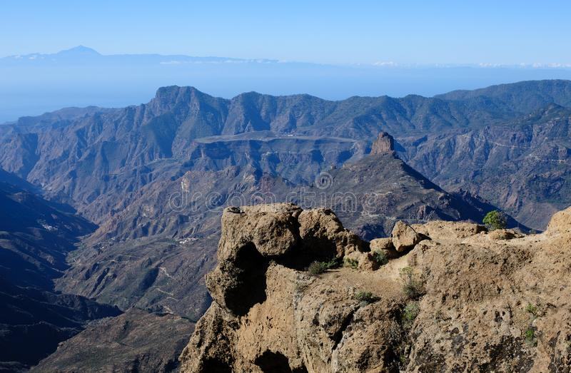 Panaromic view from Rock roque Nublo stock photography