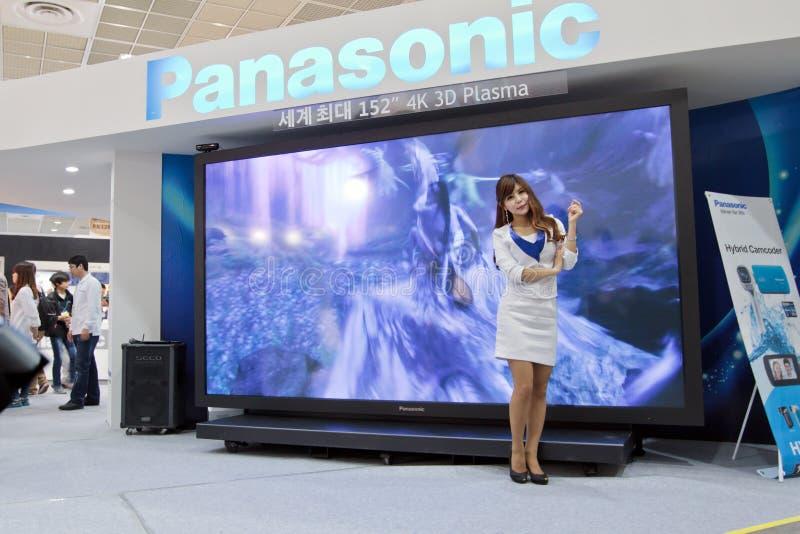 Panasonic 152. 152 4K 3D Plasma TV at Panasonic sand at 21st Seoul lnt'l Photo & Imaging Industry Show royalty free stock image