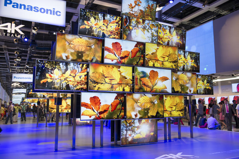 Panasonic 4 K ultra HD TV immagini stock