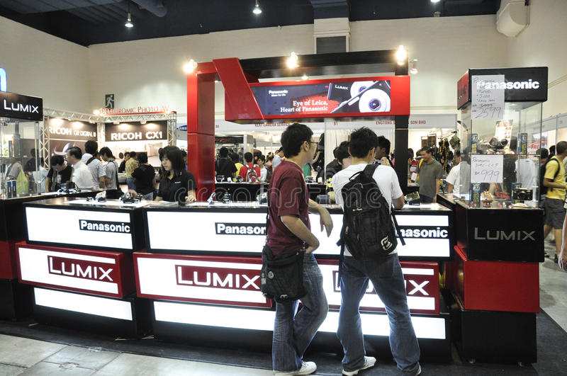 Panasonic Lumix Booth at KLPF 2009. KUALA LUMPUR, MALAYSIA - AUGUST 15: Panasonic Lumix booth at Kuala Lumpur Photography Festival August 15, 2009 in Mid Valley royalty free stock photo