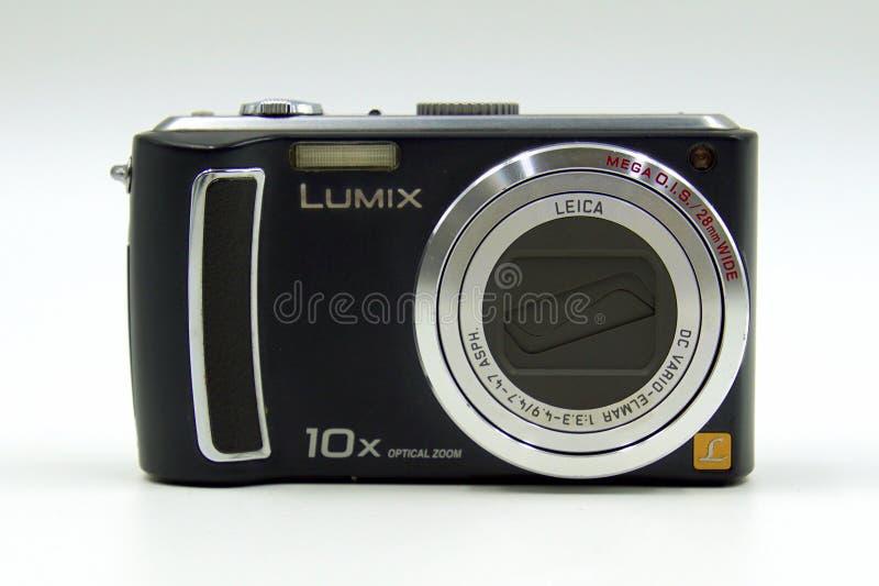 Panasonic Lumix digital photo camera. Amsterdam, The Netherlands - March 23, 2018: Front of a Panasonic Lumix digital photo camera stock images