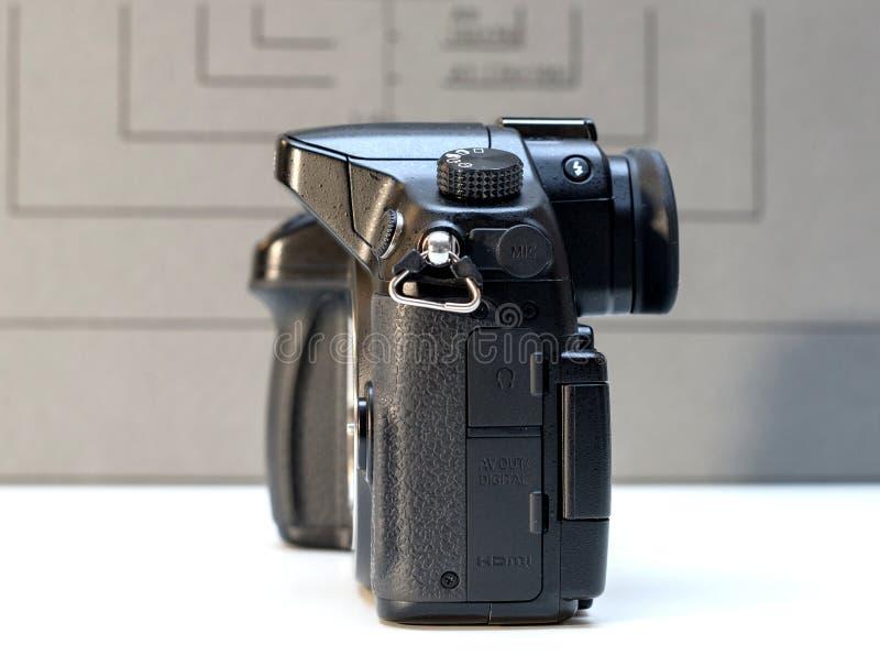 Panasonic Lumix DMC-GH4 mirrorless camera. PARIS, FRANCE - FEB 13, 2017: Detail of the Panasonic Lumix DMC-GH4 - Micro Four Thirds System digital still and video stock photos