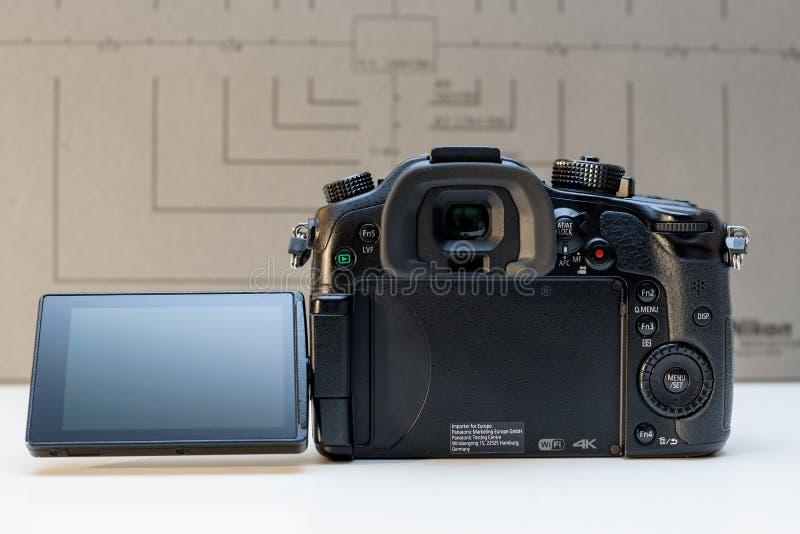 Panasonic Lumix DMC-GH4 mirrorless camera. PARIS, FRANCE - FEB 13, 2017: LCD Oled screen detail of the Panasonic Lumix DMC-GH4 - Micro Four Thirds System digital stock photography