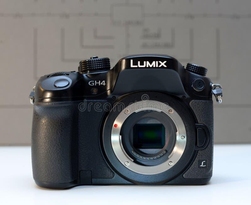 Panasonic Lumix DMC-GH4 mirrorless camera. PARIS, FRANCE - FEB 13, 2017: Sensor detail of the Panasonic Lumix DMC-GH4 - Micro Four Thirds System digital still stock photo
